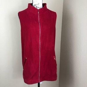 Quacker Factory Red Bling Fleece Holiday Vest 1X